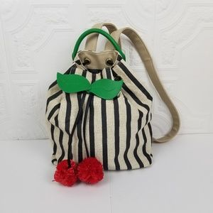 Betsey Johnson Cherry Striped Drawstring Backpack
